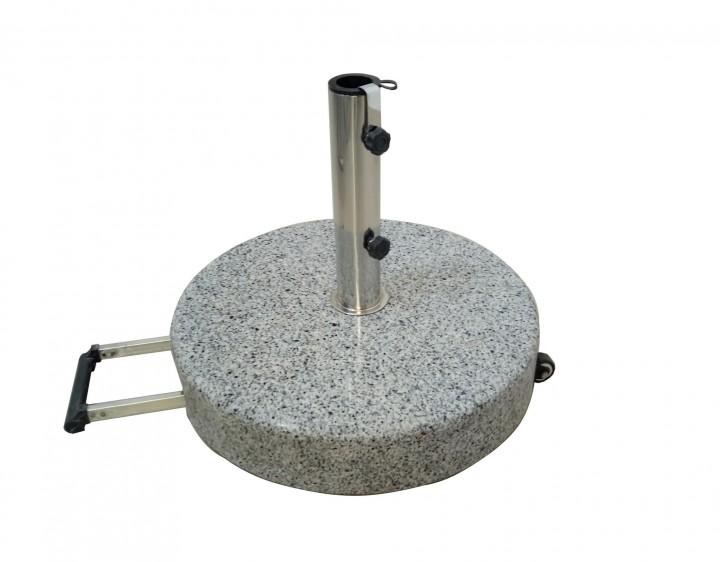 AKS Schirmständer Granit 40 kg, rund mit Griff ausziehbar, grau