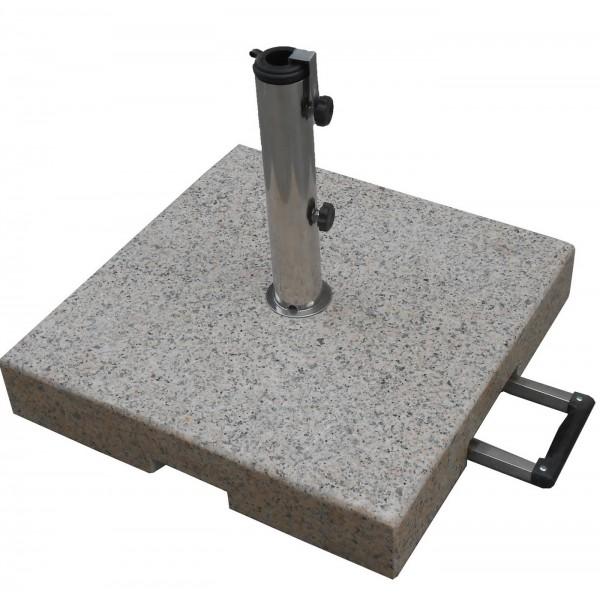 Granitschirmständer eckig 40 kg grau mit ausziehbarem Griff
