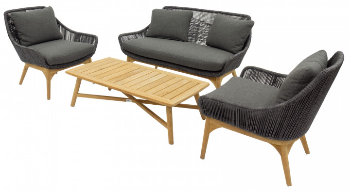 AKS Mendoza Loungegruppe Polyrattan/Kunstoffgeflecht light coal