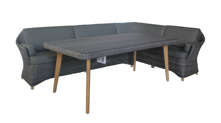 AKS Buccino Loungegruppe Polyrattan/Kunstoffgeflecht stone grey