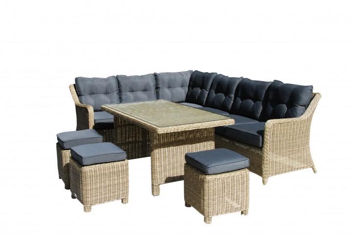 AKS Bonita Loungegruppe 6-teilig antique pine, Kissen dunkelgrau