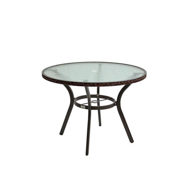 AKS Gomera Tisch Glas 105 cm weiß grau