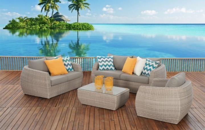 AKS Monte Carlo Lounge Set 4-teilig Geflecht light grey