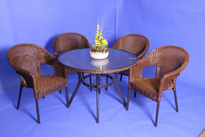 AKS Gomera Geflechtgruppe 2 Sessel, 1 Tisch cappuccino