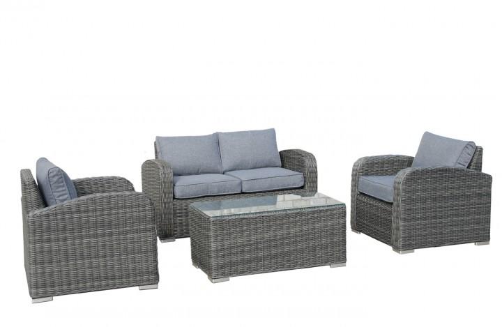 AKS Amrum Loungegruppe Geflecht 1 Tisch, 2 Sessel, 1 Sofa, Kissen