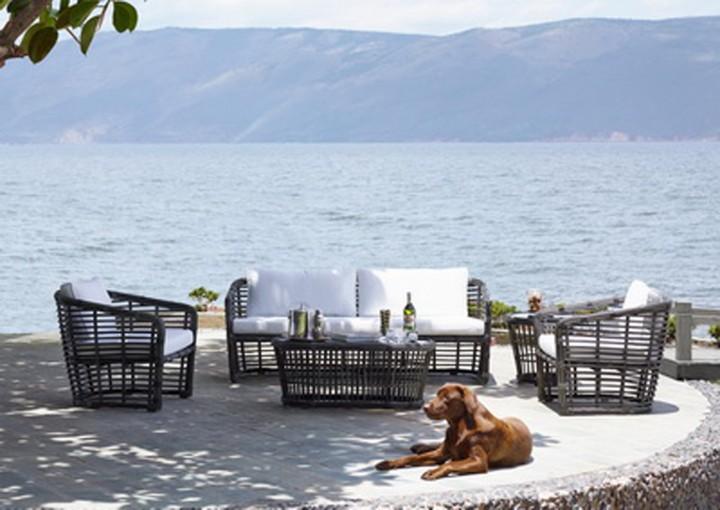 AKS Bamboo Sofaset kpl. 2 Sessel, 1 Sofa, 1 Tisch inkl. Auflagen