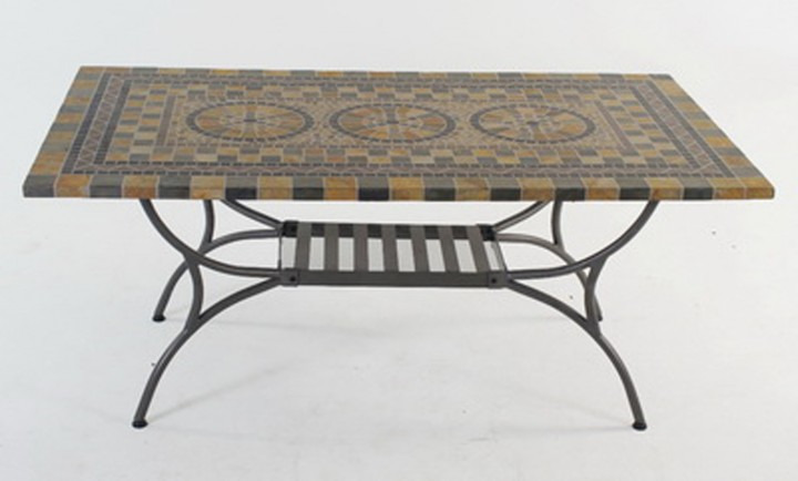 AKS Korsika Mosaiktisch 180x100 cm eckig grau/schwarz/beige