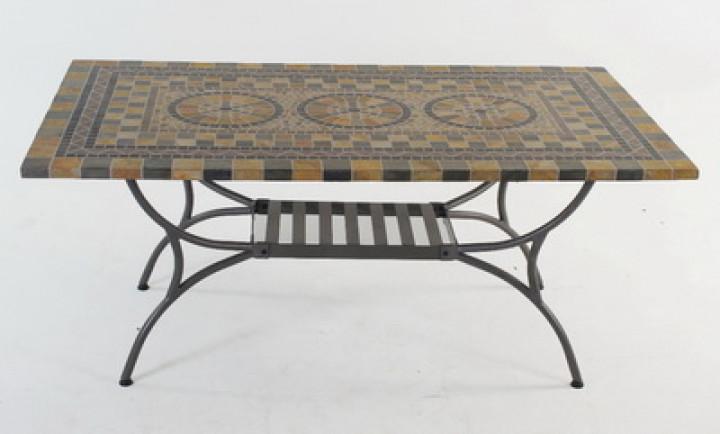 AKS Korsika Mosaiktisch Eisen (Streckmetall) grau/schwarz/beige, 180x100 cm