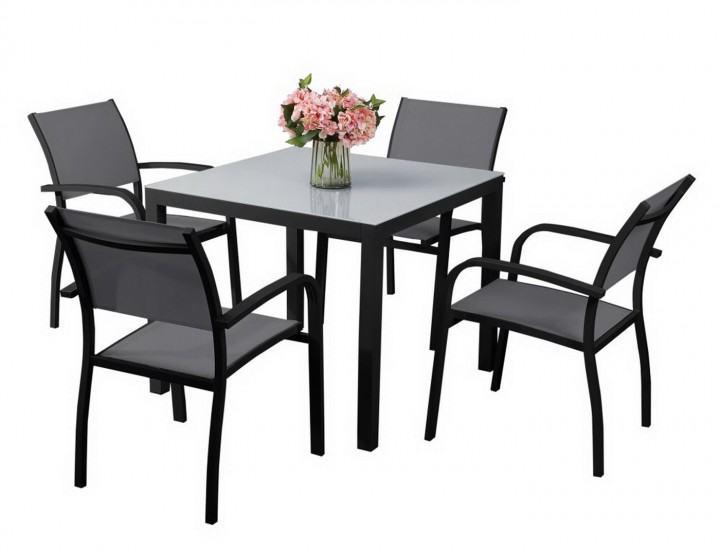 aks sardinien dining set 4 sessel 1 tisch schwarz gartenm bel sets m bel aks im garten. Black Bedroom Furniture Sets. Home Design Ideas