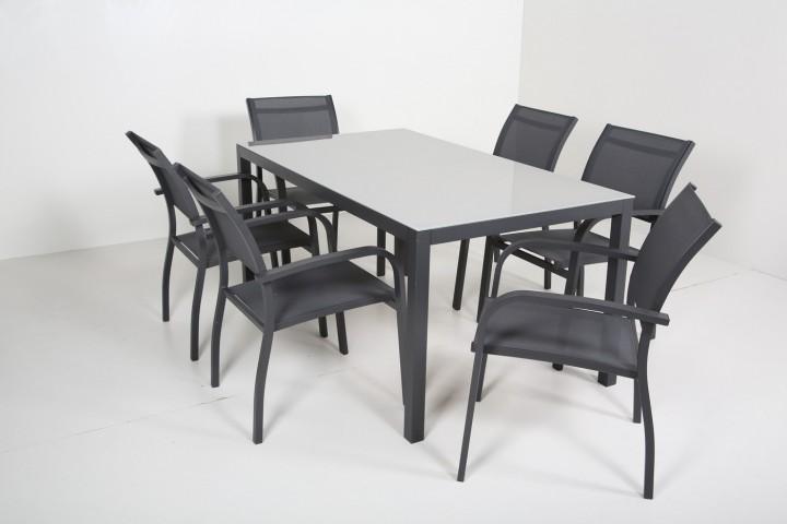 AKS Sardinien Dining Set 6 Stühle, 1 Tisch schwarz