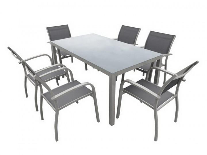 AKS Sardinien Dining Set 6 Sessel, 1 Tisch hellgrau
