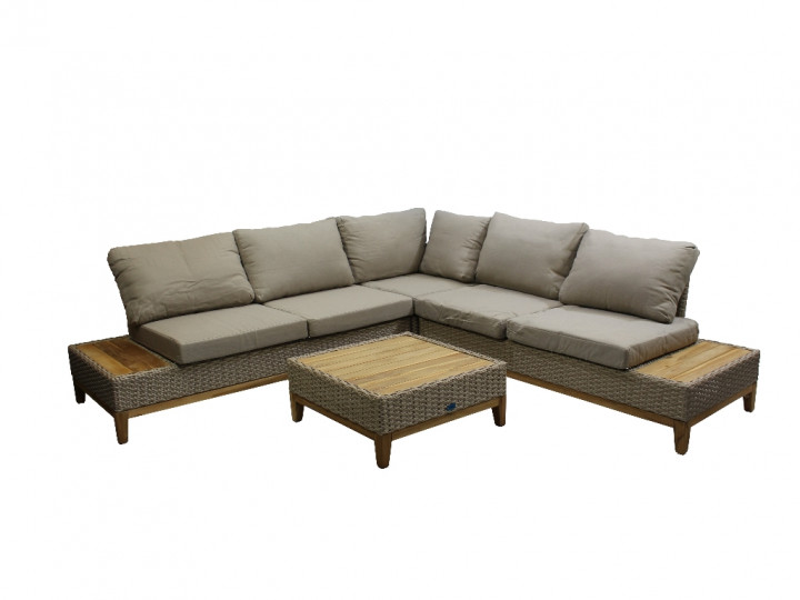 AKS Long Beach Loungegruppe Polyrattan/Kunstoffgeflecht white pepper