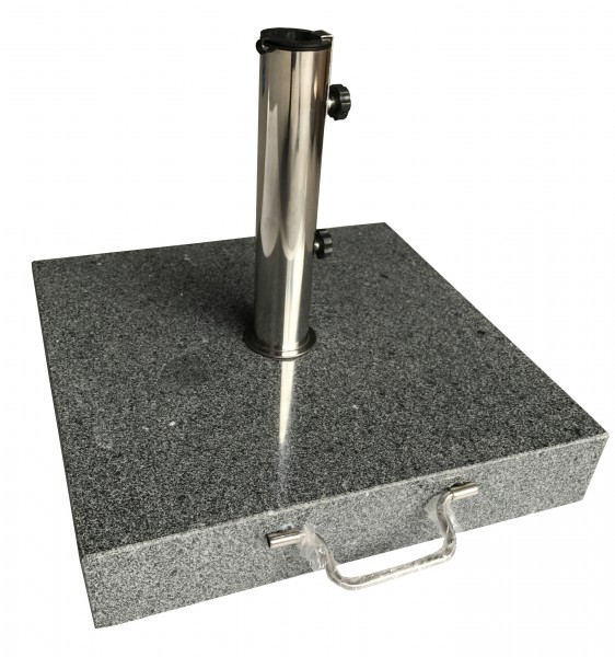 AKS Schirmständer Granit 60 kg, eckig mit Griff, dunkelgrau