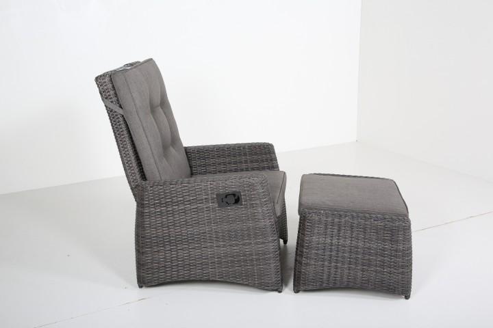 AKS Toronto Loungesessel Move Geflecht grau, Kissen grau-braun