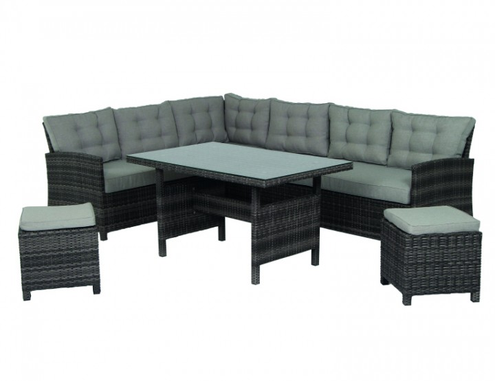 AKS Richmond Loungeset 5-teilig Geflecht lead grey