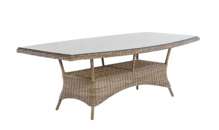 AKS Broadway Tisch eckig 220x120x74 cm Geflecht sand