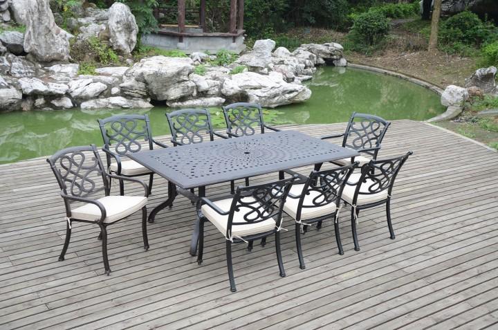 AKS Sheffield Dining Set 1 Tisch, 6 Sessel Aluguß, bronze