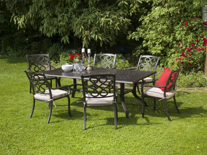 AKS Sheffield Dining Set Tisch, Stühle Aluguß, bronze