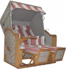 AKS Sandwig Strandkorb Pine Teak 130x83,5x174 cm Seashell, fabric 136