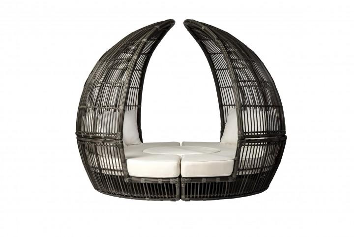 AKS Bamboo Loungeset Geflecht 4-teilig rauch, Kissen beige