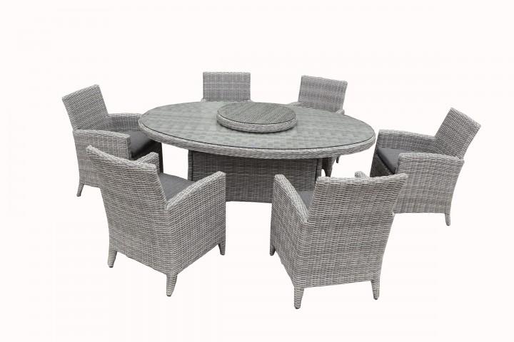 AKS Wilsum Dining Set 7-teilig Geflecht grau, Kissen schwarz