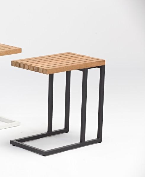 AKS Pearl Tisch, Alu/Teak, schwarz 30x45,5x49 cm