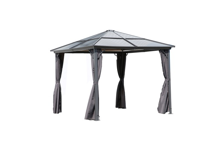 AKS Rimini Pavillon, grau, 3x3 m mit Kunstoffdach