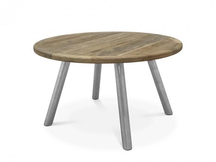 AKS Dias Tisch Edelstahl, Teakplatte natur, 130 cm