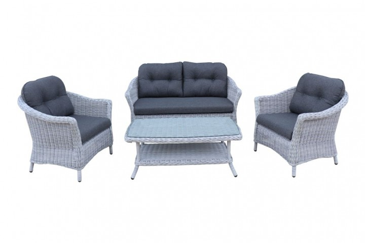 AKS Irvine Loungegruppe Polyrattan/Kunstoffgeflecht pear blue