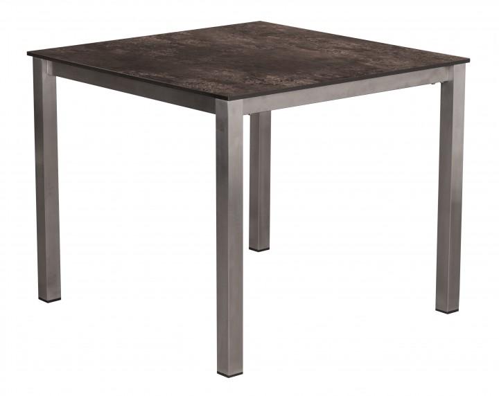 AKS Ballina Tisch Edelstahl HPL Platte, grau, 90 cm