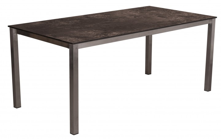 AKS Ballina Tisch Edelstahl HPL Platte, grau, 180 cm