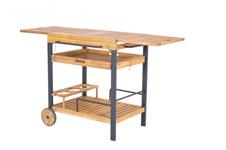 Have&Stol Baar Servierwagen Holz 70/140x50x82 cm Akazie/natur-schwarz