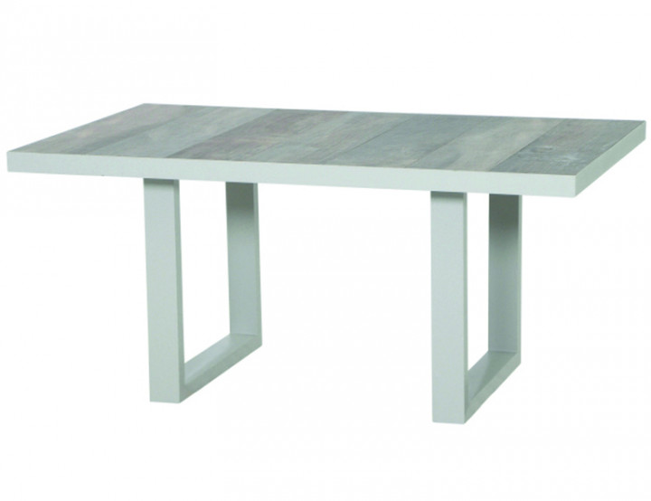 AKS Benedetto Loungetisch Polyrattan/Kunstoffgeflecht weiß-grau