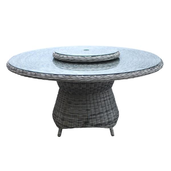 AKS Tisch Broadway rund_150x74 cm_Geflecht grey shell