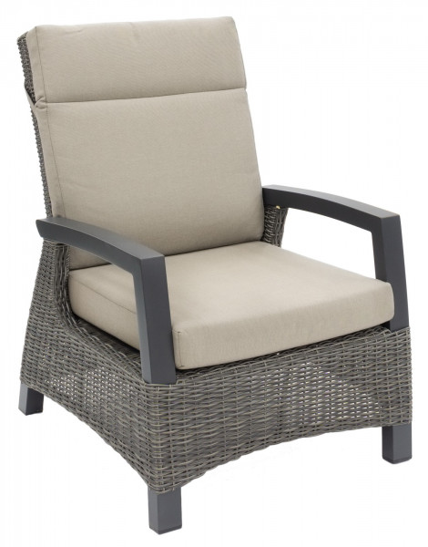 AKS Benedetto Loungesessel Polyrattan/Kunstoffgeflecht charcoal/taupe