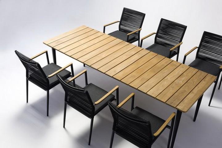 AKS Laval Tisch Teak, schwarz 210 cm